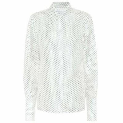 ヴィクトリア ベッカム Victoria Beckham レディース ブラウス・シャツ トップス polka-dot silk-satin blouse White Black