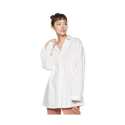 エーグル WOVEN SHIRTS 公式 Wリネンコットンチェックシャツ長袖 レディース ベージュ 日本 040 (日本サイズL相当)