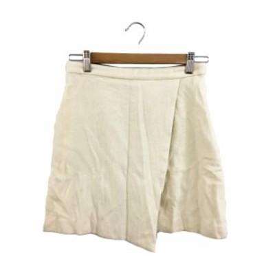【中古】ミニマム MINIMUM スカート 台形 ミニ 無地 ウール 2 白 ホワイト レディース