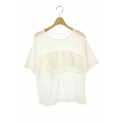 【中古】グレースクラス GRACE Class フリルレイヤードTシャツ プルオーバー 半袖 36 白 /KN ■OS レディース