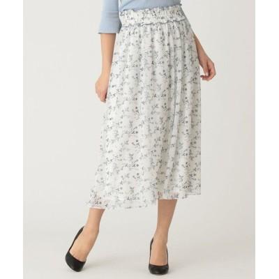 TO BE CHIC/トゥー ビー シック 【WEB限定】【Tricolore】ガーデンプリントスカート オフホワイト1 40
