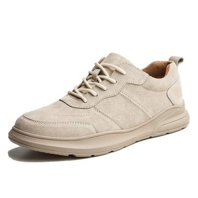 カジュアルシューズ 革靴 メンズ スニーカー スエード レースアップ ウォーキング 快適 アウトドア 歩きやすい 防滑 ランニング トレーニング
