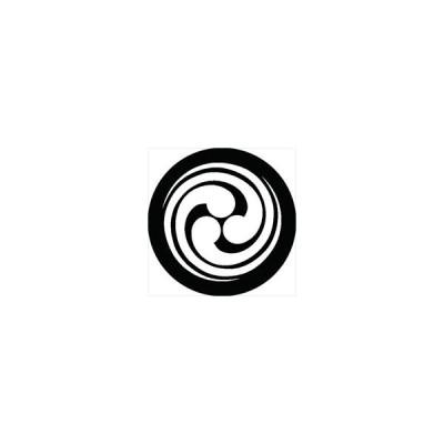 家紋シール 尾長巴紋 直径4cm 丸型 白紋 4枚セット KS44M-2641W
