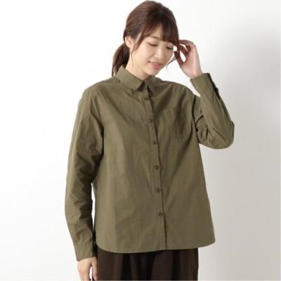 張りのあるコットン素材のハイカウントシャツ カーキ M L LL 3L