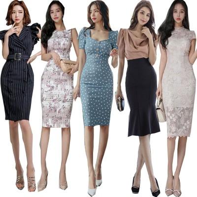 「 04/13 新作追加 Special Offer」  高品質ワンピースドレス韓国ファッションOL正式な場合礼装ドレスセクシーなワンピース一字肩二点セット ロングワンピース ニットワンピース