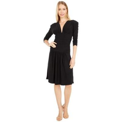カマリカルチャー レディース ワンピース トップス Shirred Sleeve V-Neck Shirred Waist Dress w/ Shoulder Pad