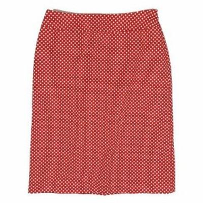 【中古】クレイサス CLATHAS ドット柄 タイト スカート ひざ丈 サイズ38 赤×白 ◎1 レディース