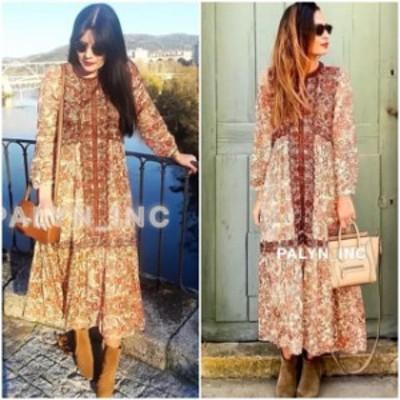 ファッション ドレス VERY RARE_NWT ZARA AW18 FLOWING PRINTED AND EMBROIDERED DRESS 6895/272_S M L