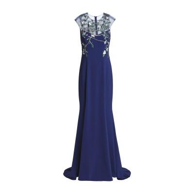 モニークルイリエ MONIQUE LHUILLIER ロングワンピース&ドレス ダークブルー 4 ナイロン 100% / シルク ロングワンピース&