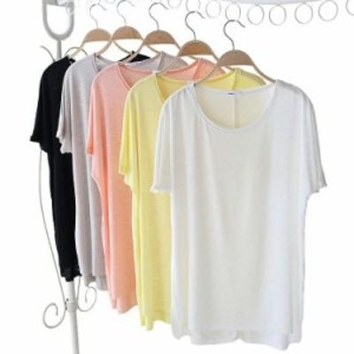 Tシャツ カットソー プルオーバー 半袖 ラウンドネック シンプル 無地 トップス レディース カジュアルスタイル ゆったり 体