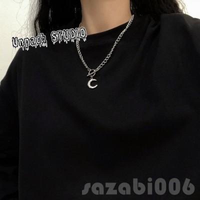月モチーフチェーンネックレス シルバー 韓国系 ファッション レディース