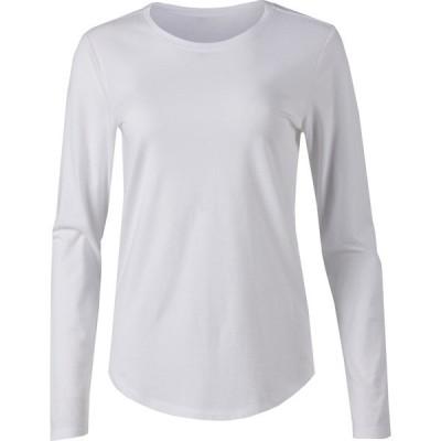 ビーシージー Tシャツ トップス レディース BCG Women's Essential Basic Long Sleeve T-shirt White