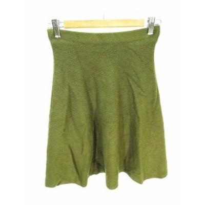 【中古】フレイアイディー FRAY I.D ギャザー スカート 膝丈ニット地 モスグリーン 深緑 F レディース