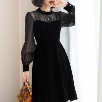 ドレス ミモレ ラメ ワンピース 上品 パーティー 結婚式 お呼ばれ フリル スレンダー シースルー 華やか フォーマル ボリューム袖 大き