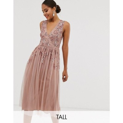 マヤ Maya Tall レディース ワンピース ワンピース・ドレス wrap front floral embellished midi dress in pale mauve Pale mauve