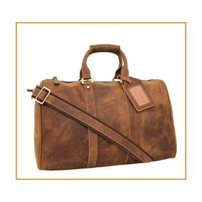 Real Leather Tan Holdall Travel Duffle Overnight Weekend Sports Gym Cabin Bag Boston【並行輸入品】