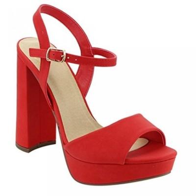 デリシャス レディース パンプス Women Glitter Party Sandal, Chunky Block Heel Platform Open Toe Shoes