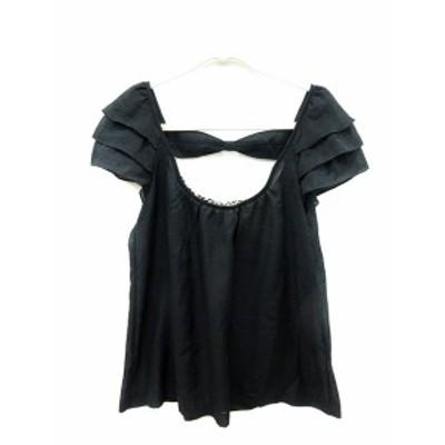 【中古】シンシアローリー CYNTHIA ROWLEY シャツ ブラウス フレンチスリーブ 刺繍 シフォン 総柄 2 黒 ブラック レディース