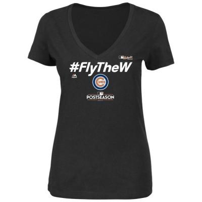 マジェスティック Tシャツ トップス レディース Chicago Cubs Majestic Women's 2017 Division Series Clincher Locker Room V-Neck T-Shirt Black