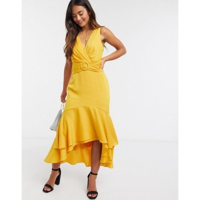 エバニュー レディース ワンピース トップス Ever New tie back belted high low midi dress in mustard yellow Mustard