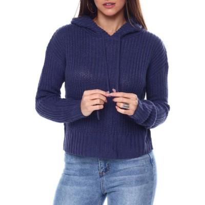 ファッションラボ Fashion Lab レディース パーカー トップス l/s hooded boxy crop pullover Blue/Indigo