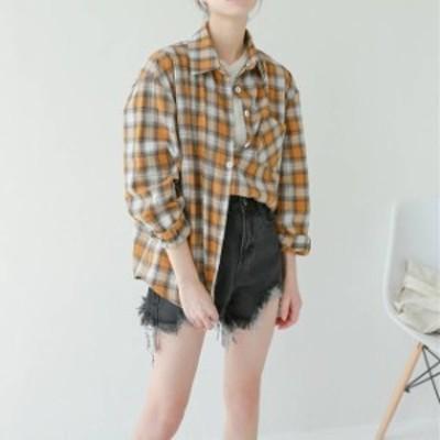 売れ筋 春物 チェックシャツ シャツ チェック柄 カジュアル 定番 羽織り ゆったり 羽織り ガーリー hf1441