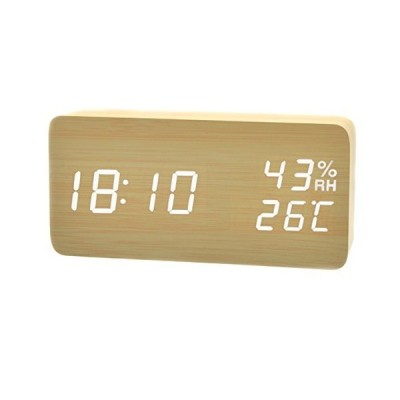 置き時計 デジタル LED USB充電/充電 省エネ 音声感知 湿度計 温度計 日本語説明書 カレンダー付 木目調 アラーム