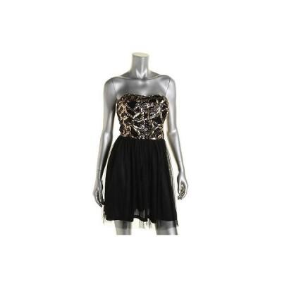 ドレス ワンピース Ark & Co. Ark Co. 8377 レディース ブラック Sequined Sweetハート ミニ Semi-Formal ドレス L BHFO