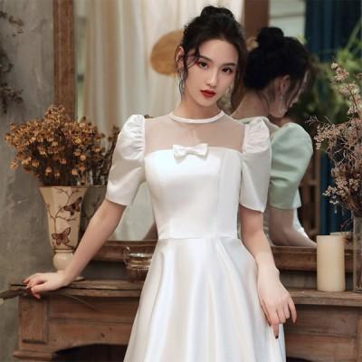 ウェディングドレスードレス 花嫁ドレス  白ドレス ハイウエスト着痩せ 韓国風 マキシ 二次会 披露宴 結婚式 ロング丈 オシャレ 大きいサイズ