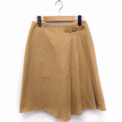 【中古】クランプリュス ミッシェルクラン KLEIN PLUS スカート ベルト 切替プリーツ 台形 ひざ丈 スエード 36