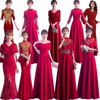 パーティードレス 韓国ファッション パーティードレス 結婚式  正式な場合 秋冬ドレス  発表会 演奏会 二次会  長袖ドレス