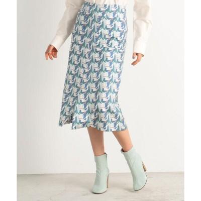スカート ブロックプリント セミフレアスカート