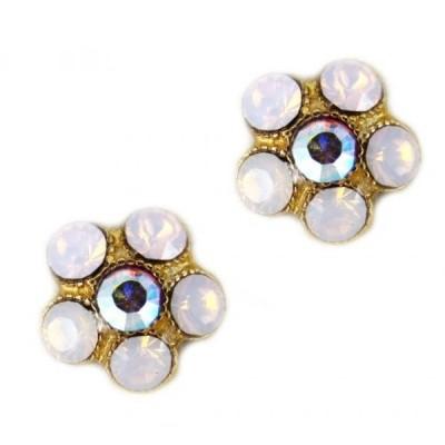 マリアナ イヤリング Mariana Gold Plated Flowerlet Crystal Post Earrings with Light Rose and Rose Aurore Boreale