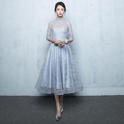 パーティードレス 安い 可愛い シースルー ミモレ丈 結婚式 披露宴 成人式 袖あり 7分袖