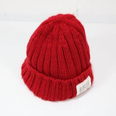 【美品】BLUE BLUE / ブルーブルー   タグ付きビーニーニット帽   レッド   O422012-P-8660361ce24781e