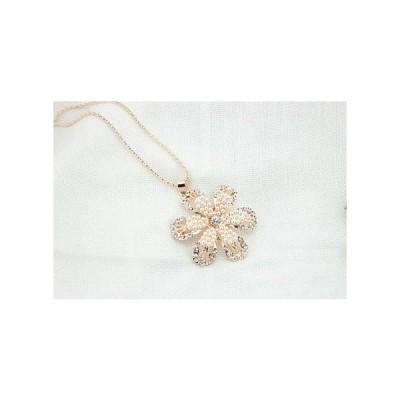 【ネコポス便対応】花飾り クリスタル パール ラインストーン ネックレス