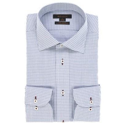 形態安定レギュラーフィットワイドカラー長袖ビジネスドレスシャツ