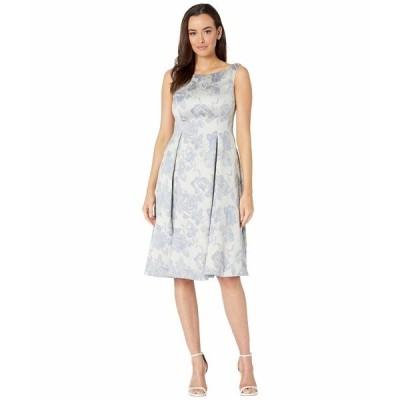 マリーナ ワンピース トップス レディース Jacquard Mid-Length Fit-and-Flare Dress w/ Pockets Blue Multi