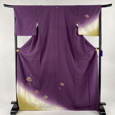 付下げ 美品 秀品 一つ紋 貝合せ 松と梅 箔 刺繍 紫 袷 身丈172cm 裄丈67cm M 正絹 中古