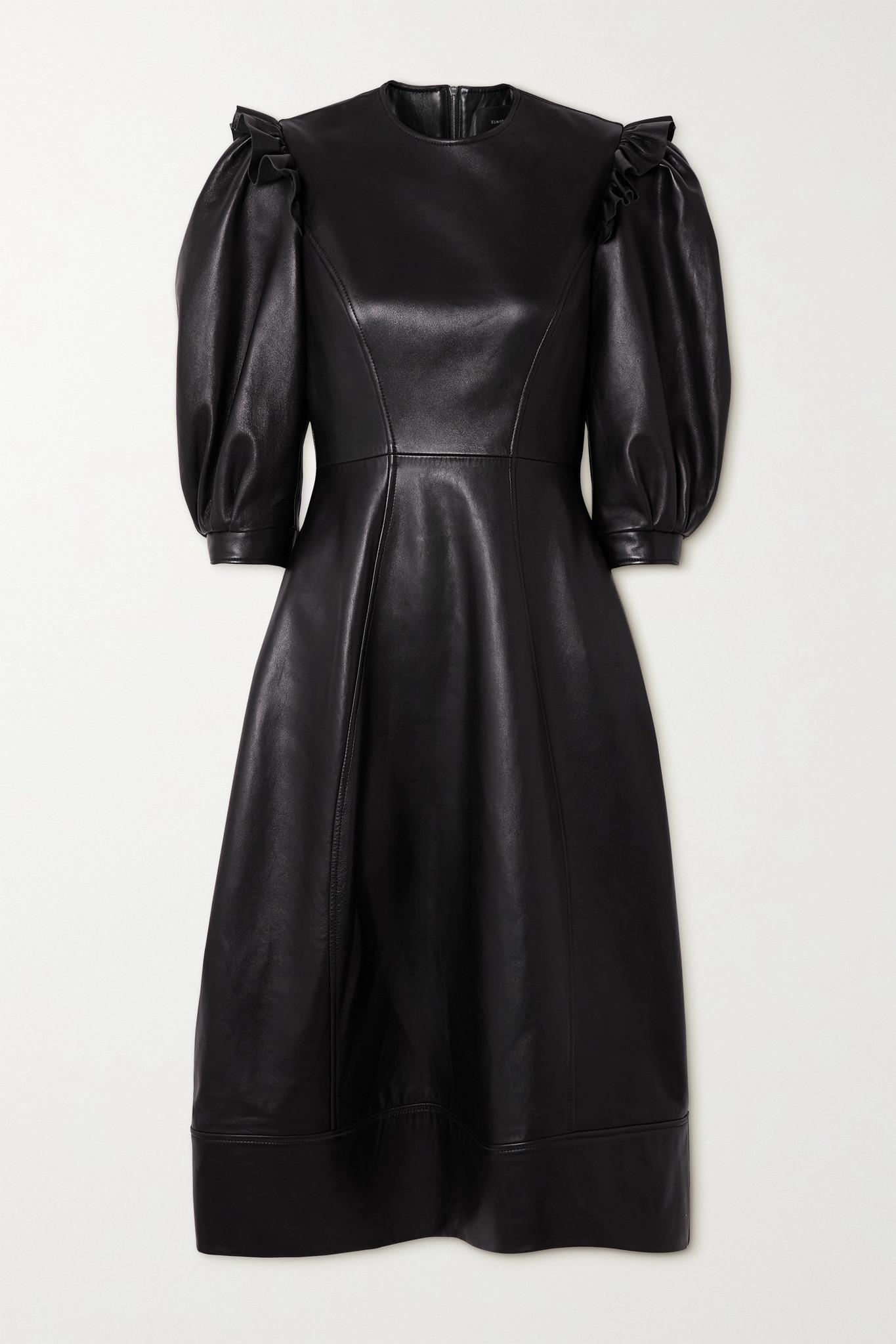 Simone Rocha - Ruffled Leather Midi Dress - Black - UK6