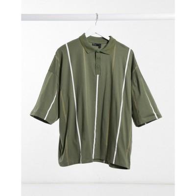 エイソス ASOS DESIGN メンズ ポロシャツ トップス oversized vertical stripe polo with tipped neck ダスティオリーブ