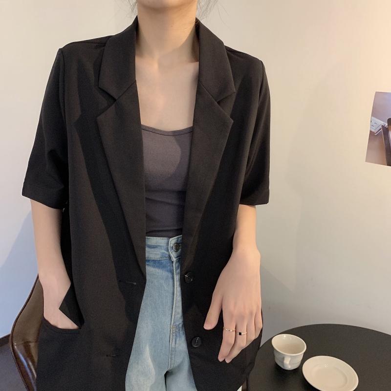 34975  韓版寬鬆黑色休閒氣質小西裝短袖襯衫外套