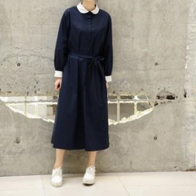 ワンピースドレス シャツワンピース ロングスカート ミモレ丈 フォーマル オフィスカジュアル シンプル