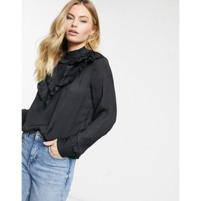 ヴィラ Vila レディース ブラウス・シャツ トップス ruffle detail blouse in black ブラック