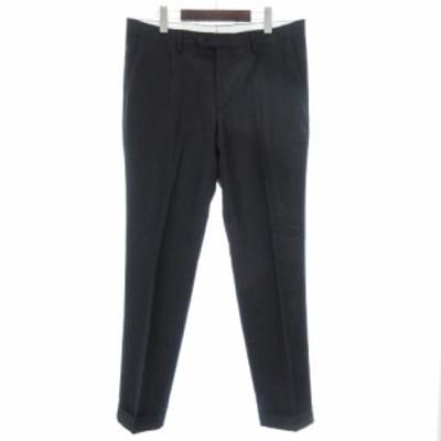 【中古】ラルディーニ LARDINI パンツ スラックス ストライプ ノータック ネイビー 紺 52 IBS71 メンズ