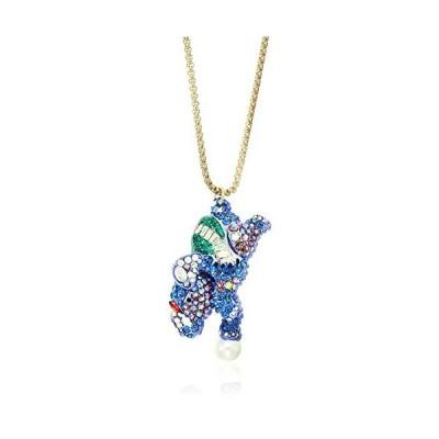 Betsey Johnson(GBG)象の長いペンダントネックレス、ブルー、ワンサイズ
