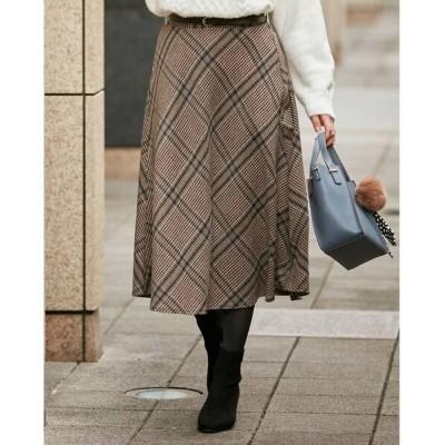 SHOO・LA・RUE / 【M-L/ベルト付】シャギ-チェックスカート WOMEN スカート > スカート