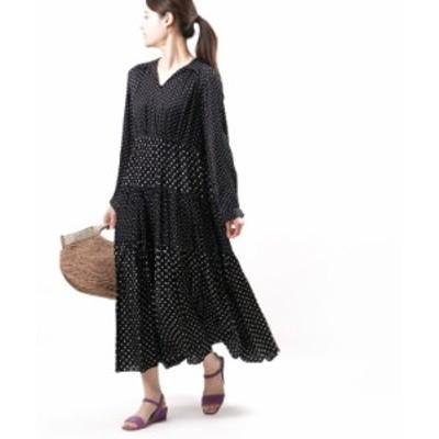 ヌキテパ ドットワンピース ティアードワンピース ロングワンピース Modal Satin Dot Print Dress ne Quittez pas 010411GC1 国内正規品