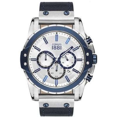 チェルッティ 腕時計 メンズ用 CERRUTI 1881 CRA130STBL04BL White Dial Gray Leather Strap Men's Watch