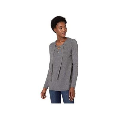 カルバン・クライン Lace-Up Sweater レディース セーター Heather Charcoal